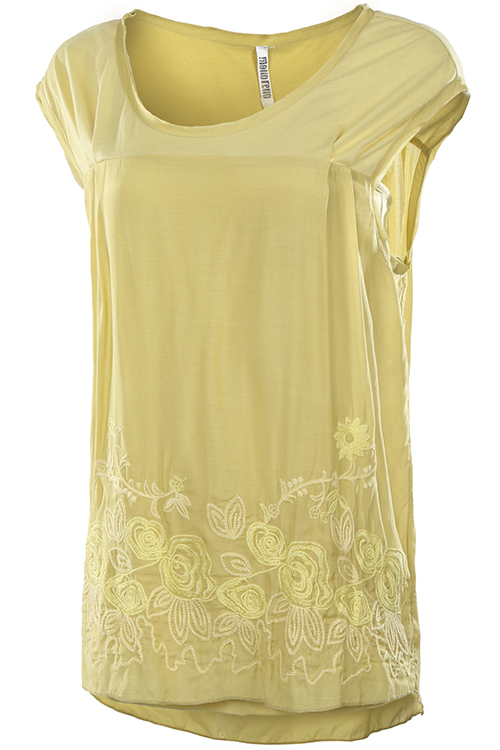 Kiwi Yellow Silk Floral Embroidered Blouse, Floral Embroidered Lightweight Top