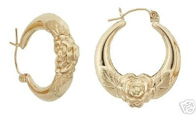 14K Yellow Gold Fancy Rose Hoop Earrings