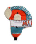 Miami Adult Size Winter Trapper Hat Aqua/Orange - $12.95