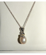 Genuine Pearl Solid Gold Pearl & Diamond Necklace Valentines Day - $49.00