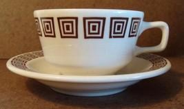 Vtg 8 pcs Homer Laughlin Cups Saucers Cream Brown Squares Restaurantware Retro
