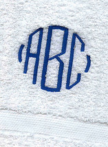 12 MONOGRAMMED WHITE HAND TOWELS PACK / GRANDEUR HOSPITALITY/100%COTTON - $67.32