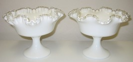 Fenton White Milk Glass Silver Crest Ruffled Crimped Compote Pedestal Bowl Set - $49.99