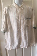 Cubavera Men's Button Up Short Sleeve Collared Shirt White Striped Size XL  - $13.96