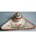 Hand Painted Faïence Inkwell probably from the 19th Century and of Frenc... - $42.75