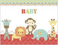 "Greeting Note Card Baby Animals on Red ""Baby"""