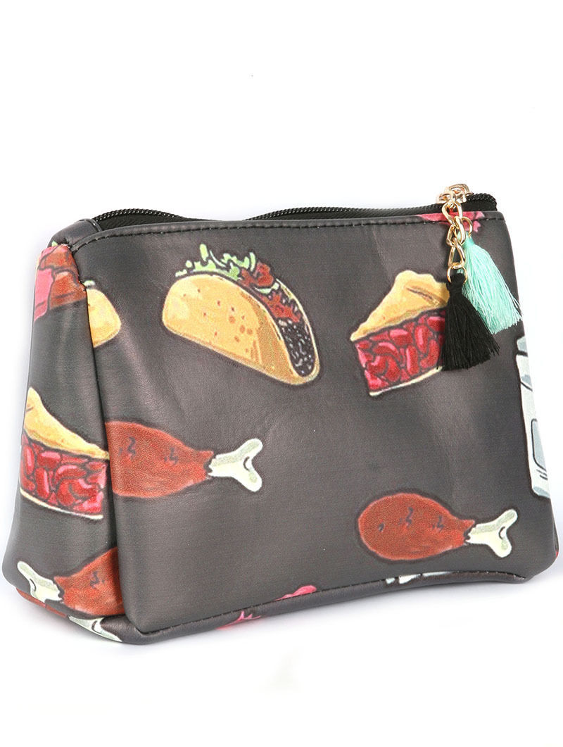 Junk Fast Food Print Tassel Cosmetic Makeup Bag or Pouch Wallet Clutch Purse