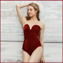 Open Back Lace Up Burgundy Velvet Wine Strapless Snap Closure Body Suit image 1
