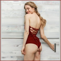 Open Back Lace Up Burgundy Velvet Wine Strapless Snap Closure Body Suit image 2