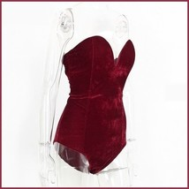 Open Back Lace Up Burgundy Velvet Wine Strapless Snap Closure Body Suit image 5