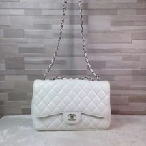 Authentic Chanel White Caviar Classic Jumbo Flap Bag Silver Hardware