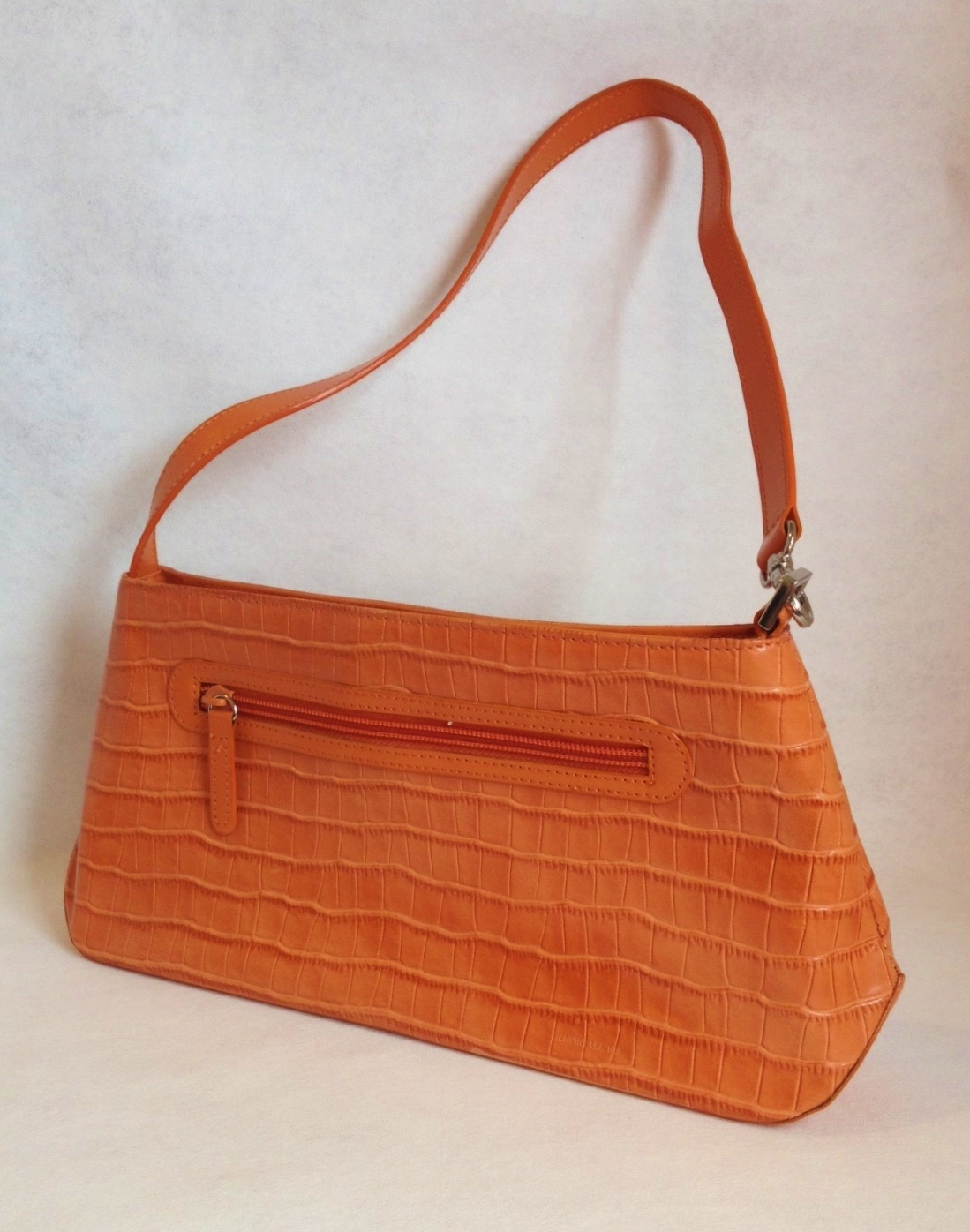Primary image for Orange Genuine Leather Handbag Purse Faux Crocodile Lined Tote Pockets