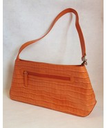 Orange Genuine Leather Handbag Purse Faux Crocodile Lined Tote Pockets - $45.00