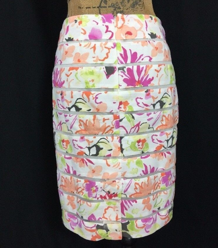 NEW Ann Taylor XS 0 Pencil Skirt Off White Pastel Floral Tier Mesh Stripe Lined