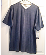 New Mens Methods Shirt Size L Cotton Knit Blue Short Sleeve Striped NWT - $18.99