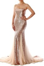 Women's Champagne Sequins Prom Dresses Mermaid, Formal Evening Gown, Party Dress - $149.00