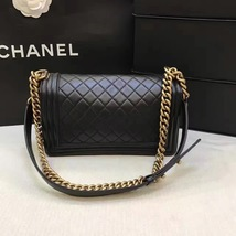 AUTHENTIC CHANEL LE BOY BLACK LAMBSKIN MEDIUM FLAP BAG GHW image 2
