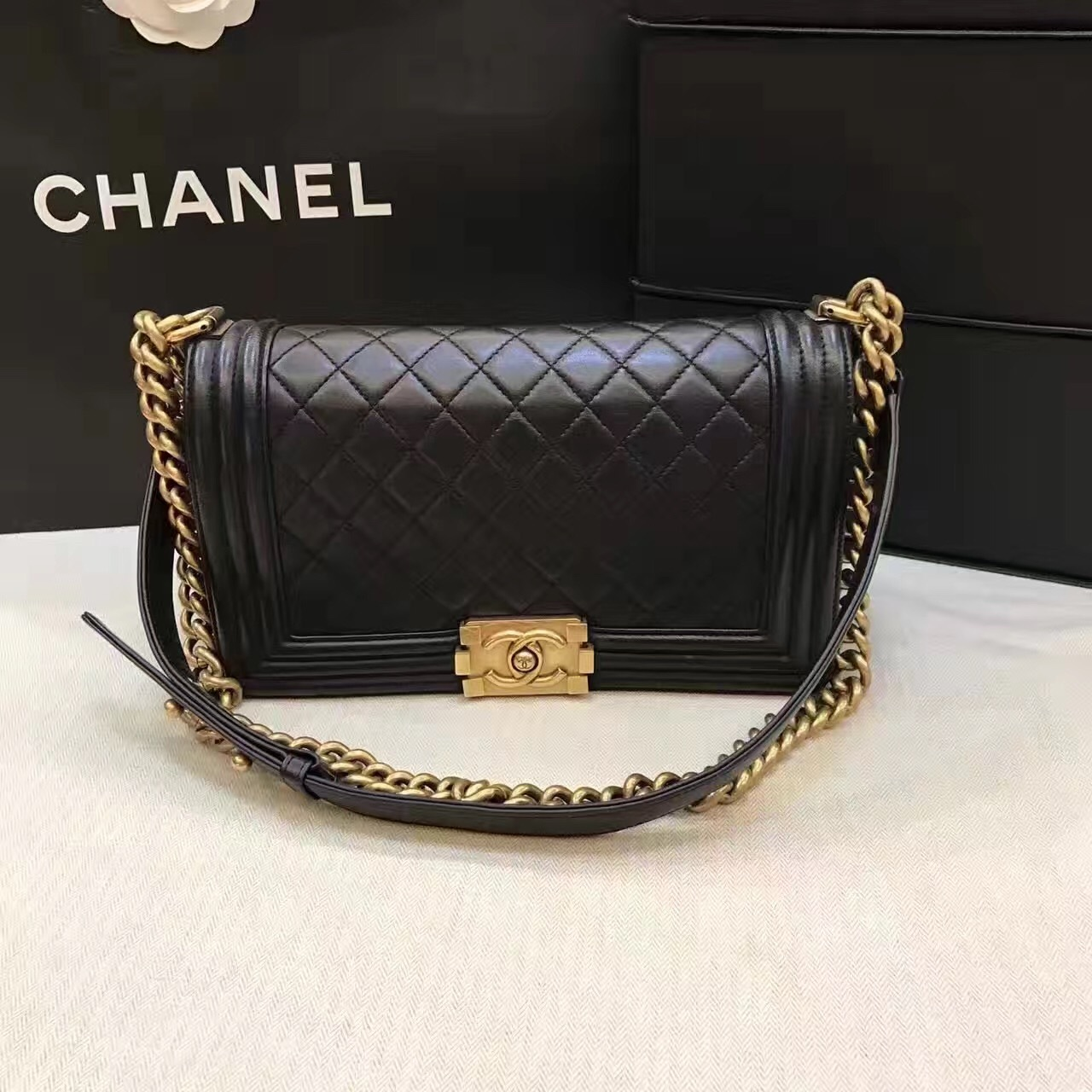 712ed3c5980a AUTHENTIC CHANEL LE BOY BLACK LAMBSKIN MEDIUM FLAP BAG GHW- Handbags ...