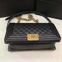 AUTHENTIC CHANEL LE BOY BLACK LAMBSKIN MEDIUM FLAP BAG GHW image 6
