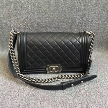 AUTHENTIC CHANEL LE BOY BLACK LAMBSKIN MEDIUM FLAP BAG RHW