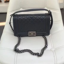 AUTHENTIC CHANEL LE BOY LAMBSKIN MEDIUM FLAP BAG RHW - $5,112.06 CAD