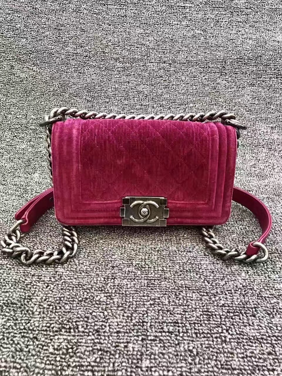 Authentic Chanel Quilted Velvet Small Boy Flap Bag Pink RHW