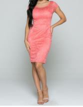 Peach Lace Bodycon Dress with Pencil Skirt, Short Sleeve, Formal Wear, Wedding