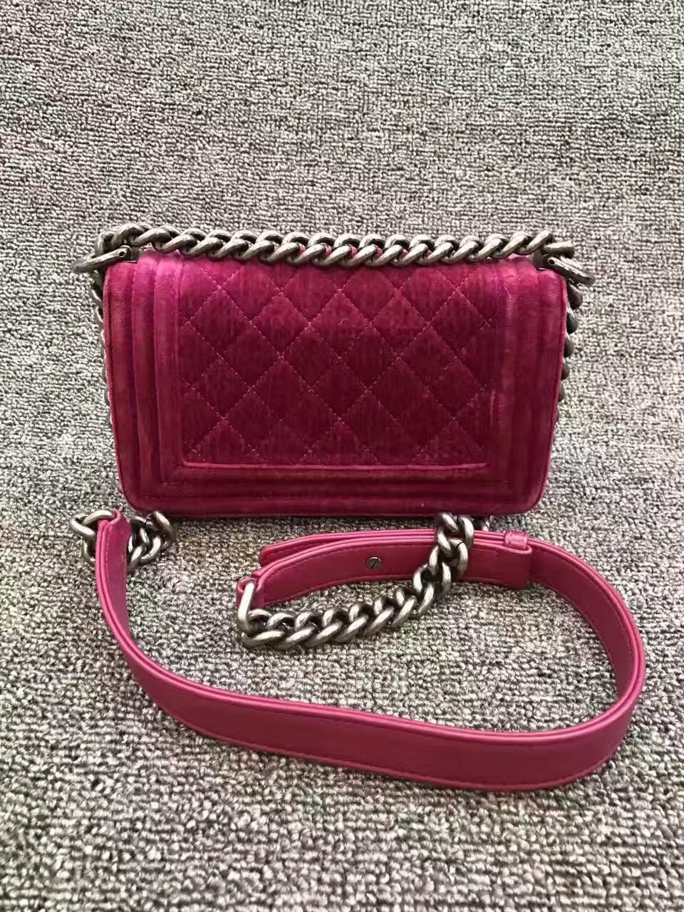 f0e0cefe0d59 Authentic Chanel Quilted Velvet Small Boy Flap Bag Pink RHW ...