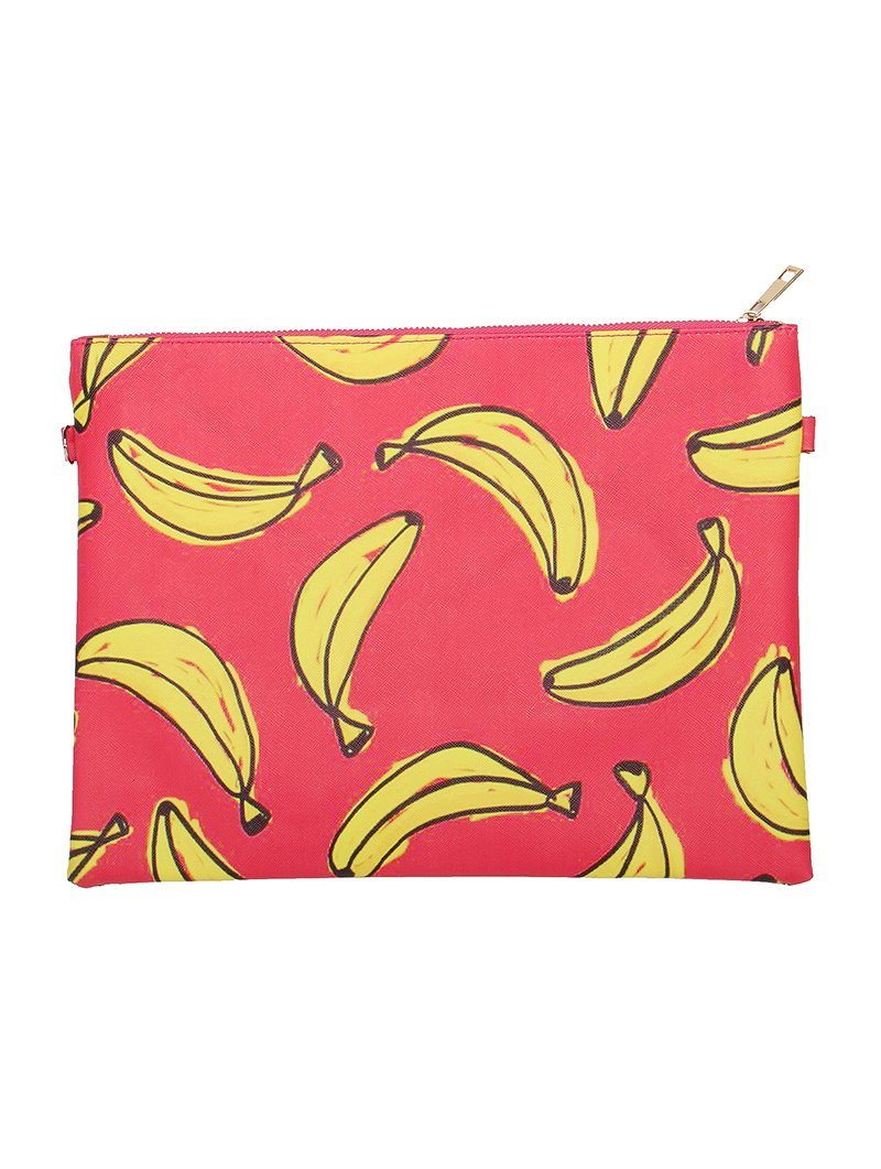 Large Vinyl Clutch Bag with Removable Shoulder Strap (Bananas 2)