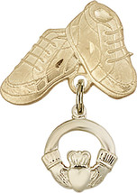 14K Gold Filled Baby Badge with Claddagh Charm and Baby Boots Pin 1 X 5/8 inch - $95.03