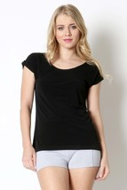 Black Boat Neck Blouse with Button Detailing, Short Sleeve, Womens Top Shirt