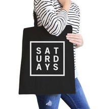 Saturdays Black Canvas Bag Trendy Typography Tote Bag Gift Ideas - $21.22 CAD