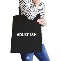 Adult-ish Black Canvas Bag Trendy Varsity Tote For College Students - $21.22 CAD