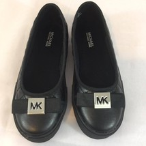 MICHAEL Michael Kors CALITRACIE, Black Logo Girl's Sz 1 Flats Shoes  - $27.40