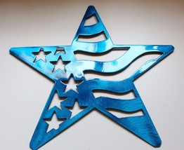 "Stars and Stripes Barn Star Metal Wall Art Decor/Wall Hanging Blue 7"" - $9.89"