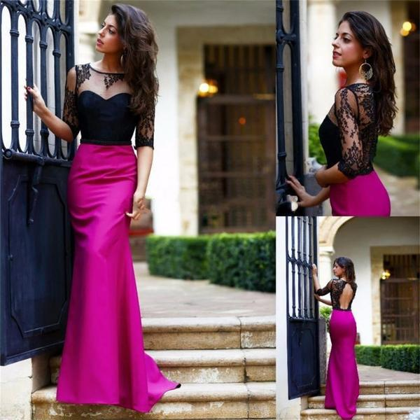 Black top lace rose red half sleeves open back simple new design prom dress   pd0271