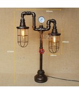 Industrial Machine Age Pipe Steampunk Cage Double Antqiue Floor / Desk Lamp - $322.37