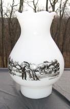 Lamp Shade Milk Glass Currier & Ives Hurricane Farm Scene - $14.85