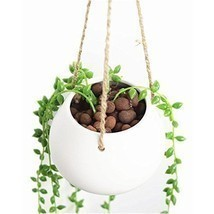 Hanging Plant Flower Pot Mini Ceramic Decorative Planter Vase White Terr... - $15.30