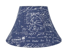 Urbanest Linen Bell Lampshade, 6-inch by 12-inch by 8-inch, Blue with White Scri - $34.64