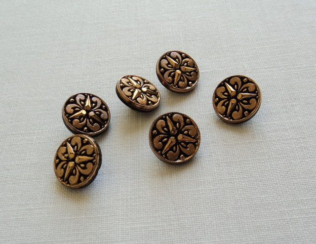 Primary image for Six Sewing Craft Copper Gold Tone Round Fleur de Lys Design Buttons-Free Shippin
