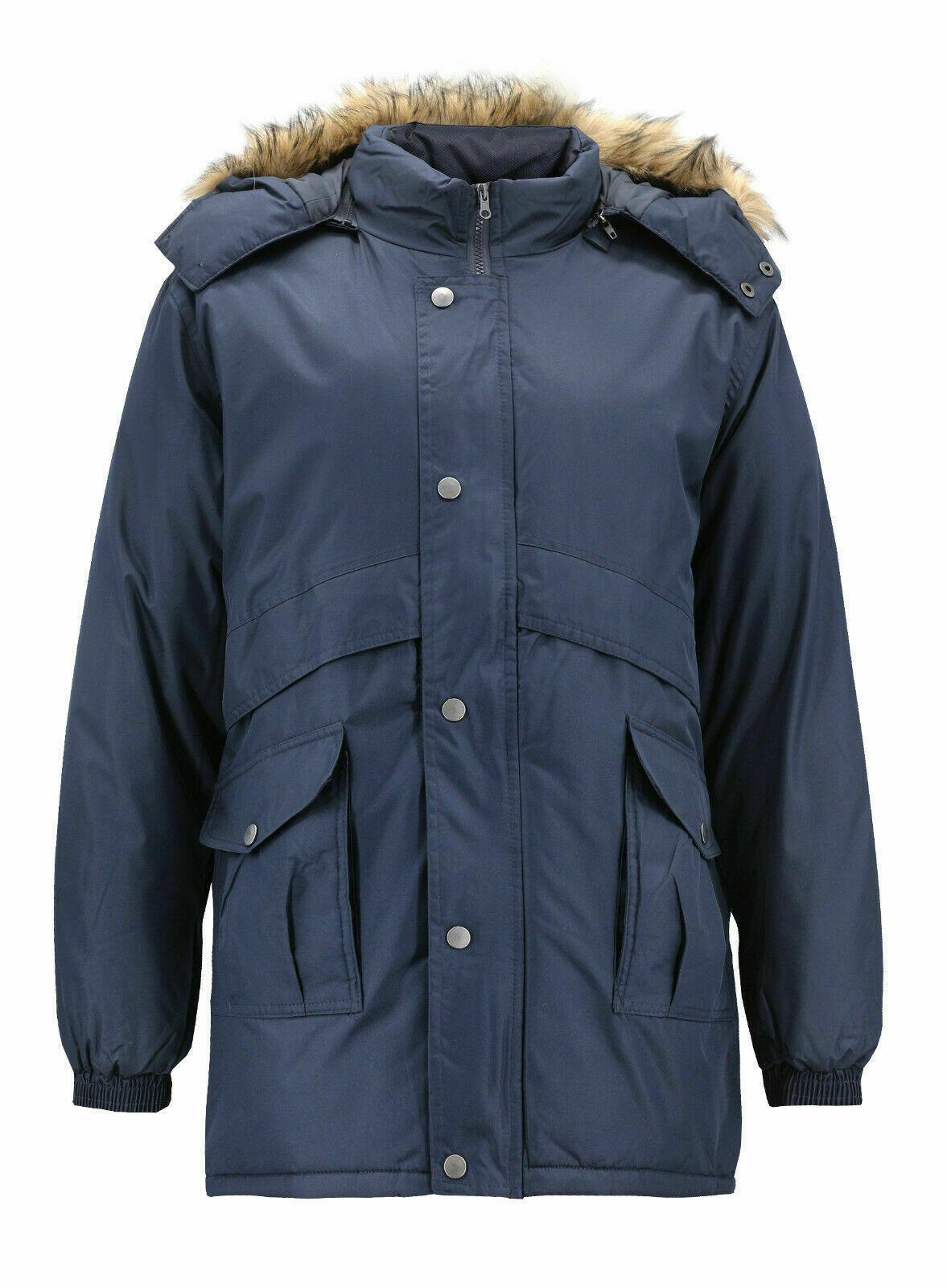 Men's Heavy Weight Winter Coat Removable Hood Puffer Parka Jacket w/ Defect  2XL