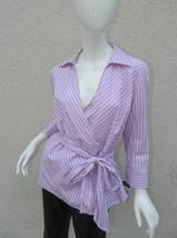 NWT Chaps Wrap Shirt Purple and White Stripes 3/4 Sleeve Top Shirt- Sz L - $18.55