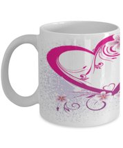 Love,Hearts And Flowers.11 oz White Ceramic Full Wrap Around Image, Coff... - $15.99