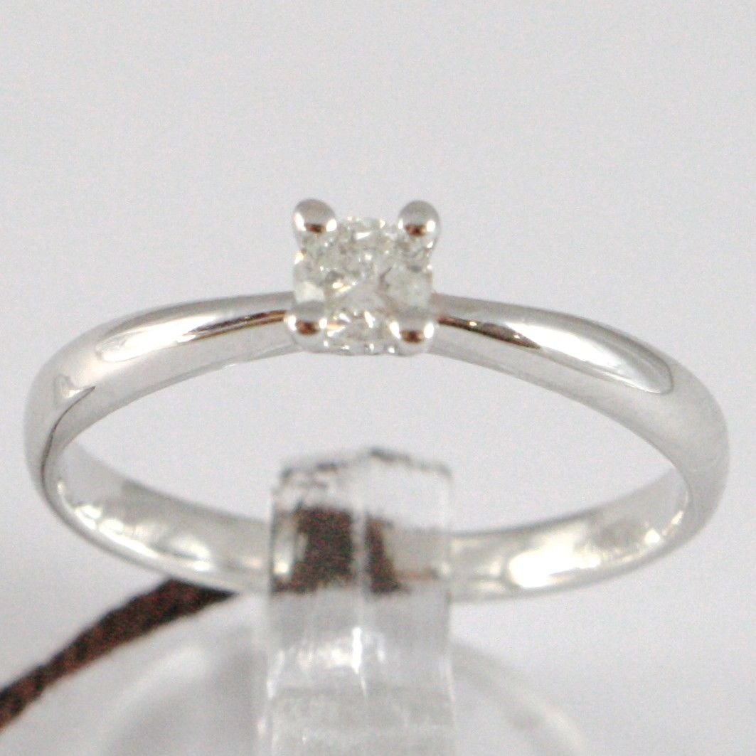 WHITE GOLD RING 750 18K, SOLITAIRE, STEM ROUNDED, DIAMOND CARAT 0.17
