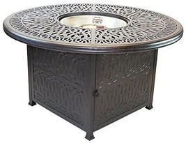 Propane fire pit table set cast aluminum 5 piece dining with Sunbrella cushions. image 2