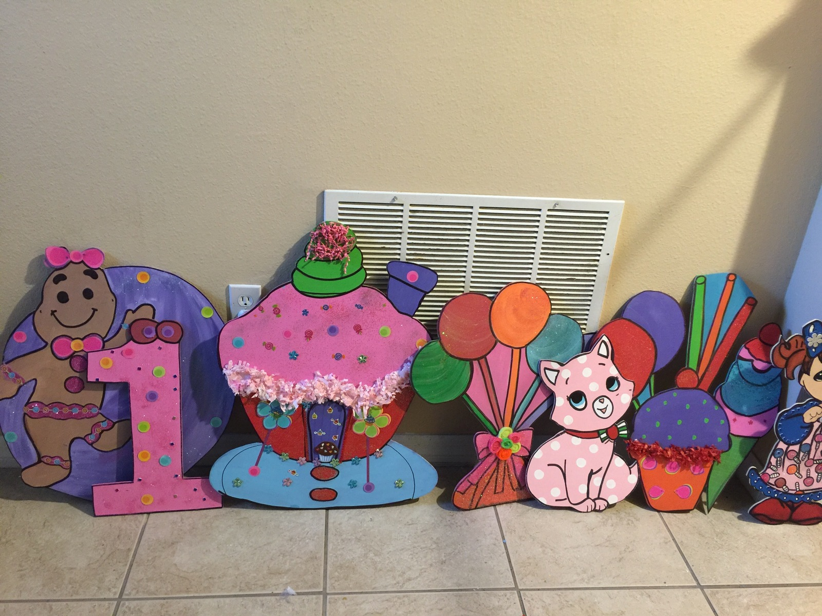 Candy Land 3 feet Wood  Standees  Birthday party Centerpiece. Photo Props - One