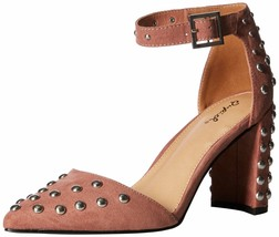 Qupid Women's Studded Chunky Heel D'orsey Pump 8 Mauve Suede Polyurethane - $34.65