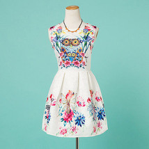 NEW Women Owl Floral Blue Pink White Pinup Mini Sleeveless Junior Dress, Small 2 - $21.78