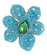 "Sindary 4.33"" Gold-tone Turquoise Green Rhinestone Crystal Flower Brooch... - $19.95"
